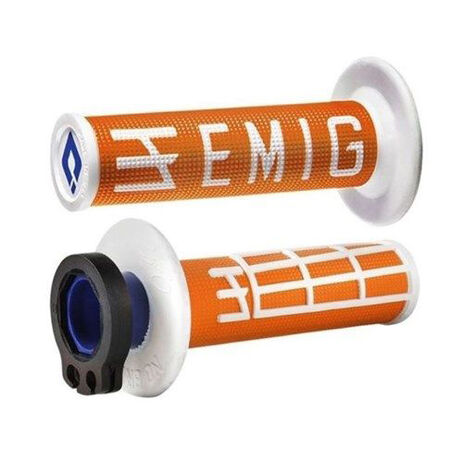 _ODI MX Lock On V2 Emig 2/4 ST Grips Orange/White | H36EMOW | Greenland MX_