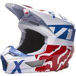 _Fox V1 Skew Helmet White/Red/Blue | 27999-574 | Greenland MX_